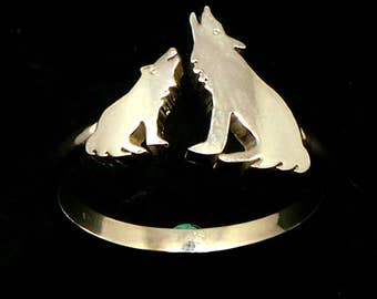 Silver Mother and Child Wolf Ring - Wolf Jewelry, Gift for Wolf Lovers, Fox Lovers, Animal Lovers, Gift for Mother Day, Moms, Dads and Grads