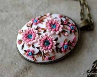 Lovely Polymer Clay Applique Statement Pendant Necklace in Pink and Brown
