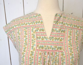 Cap Sleeve Blouse 1960s Hippie Vintage Floral Striped Top Pink White Folk Peasant Style Small Medium