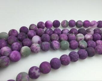 4mm / 6mm / 8 mm / 10mm / 12mm Round Matte Imitation Charoite 15''L, 38 cm Loose beads Semiprecious Gemstone Bead Wholesale Beads Supply