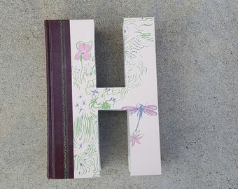 Upcycled Book Letter Decor - H
