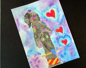 "Lurcher original watercolour ""Hairy Pawter and the Magic of Love"" silly old (grey)hound 7"" x 9.75"""