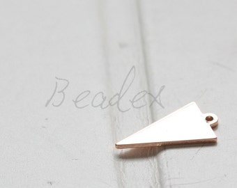One Piece / Rose Gold Plated / Real Rose Gold / Brass Base / Geometry / Triangle / Arrow / Charm (C3079//I626)