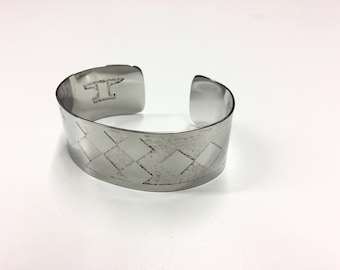 "Squares Cuff - Etched Stainless Steel - 1"" wide"