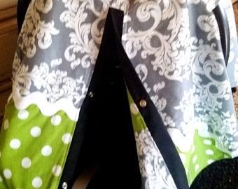 Carseat Canopy Scroll Lime Dot carseat cover READY TO SHIP