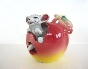 Vintage Ceramic Red Apple Mouse Toothpick Holder Figurine Fruit Kitchen Decor 1950's Hand Painted Japan Pottery