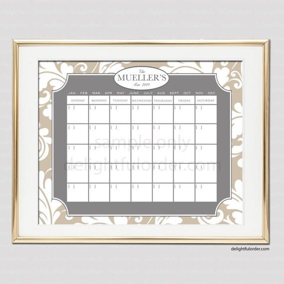 Digital Dry Erase Calendar - Custom Damask Calendar - 16x20 JPEG Digital/Printable File - You Choose Your Color  - You Print