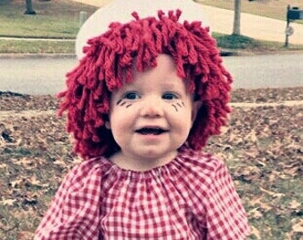 Raggedy Ann and Andy Red Wig Doll Baby Boy Girl Toddler Clown Pageant Hair Costume Halloween Cabbage Patch Circumference 16, 17, or 18.5