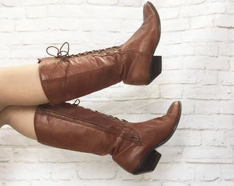 Vintage 90s Zodiac Does Victorian Western Prairie Lace-Up Boots Brown Leather Steampunk 8