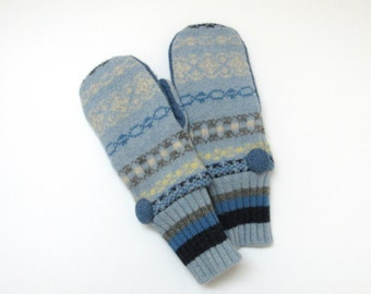 Wool Mittens Fleece Lined Fair Isle in Blues Gray and Cream Felted Wool Mittens