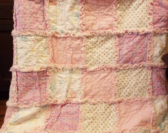 Handmade Cozy Flannel Rag Quilt-Throw Shabby Cottage Chic