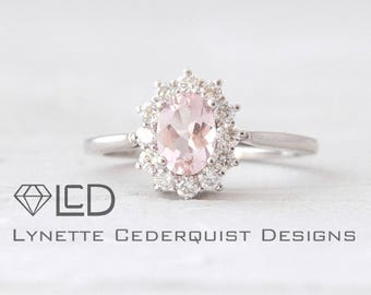 Pale Pink Morganite Ring Oval and Diamond Halo Setting Morganite Engagement Ring LCDH007