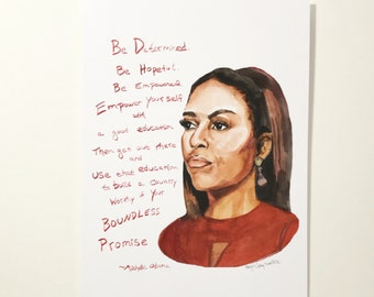 Michelle Obama farewell speech portrait and Inspiring quote, 5x7 card, Ready to Ship