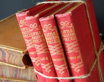 Little Masterpieces. Set of Antique Books. Classic Literature. Red and Gold. Instant library. Book Collection. Traditional. Home decor.