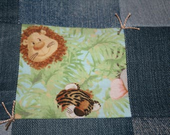 "Handmade Baby Blanket Quilt Denim and cute jungle babies, aqua Minky  31 3/4"" x 51 1/2"""