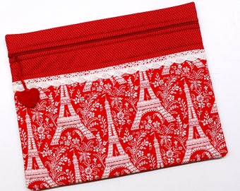 Red Eifel Tower Paris Cross Stitch Embroidery Project Bag