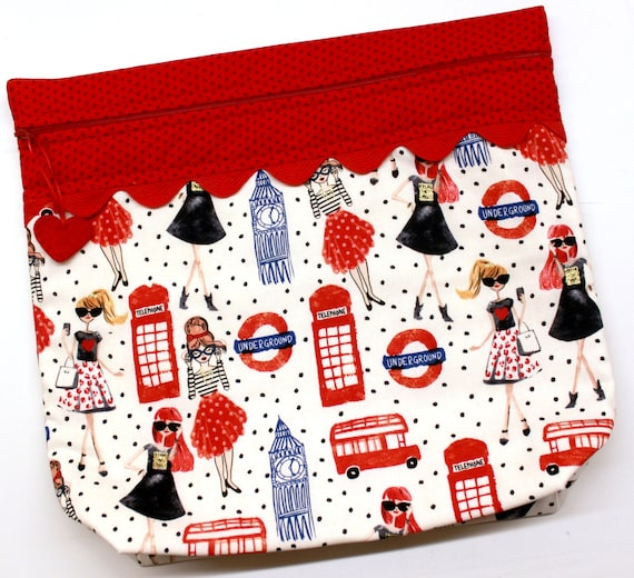 MORE2LUV London Underground Chic Cross Stitch Embroidery Project Bag