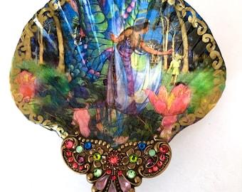 Fairies Midsummers Night Dream Shell Jewelry Dish Ring Dish Trinket Dish