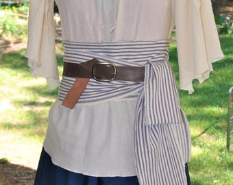 Long Pirate Sash with Frayed Edges. Long Striped Pirate Sash. Pirate Sash. Blue Stripe Sash. Adult Pirate Sash. Striped Pirate Sash.