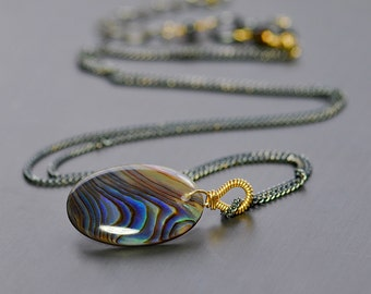 Abalone Pendant Necklace by Agusha. Abalone Pendant. Abalone Necklace. Gold Filled and Oxidized Silver Single Gem Necklce