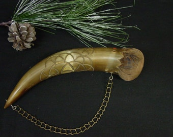 Excellent Vintage Pincushion from Real Horn Carved and Tinted, Chain