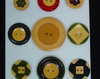 9 Bakelite Cookie Buttons Variety of Sizes, Colors and Styles Fun