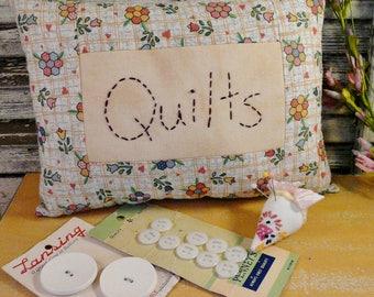 Prim set Quilt pillow strawberry pincushion - Primitive button cards