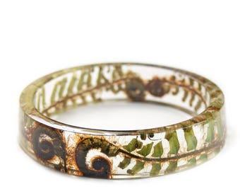Fern Bracelet- Forest Bracelet -Real Flower Bracelet- Green Fern Bracelet- -Green Bracelet- -Resin Jewelry- Flower Jewelry