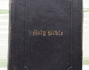 Vintage Bible Leather bound Pocket size 1876