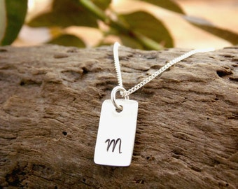 Tiny Initial Monogram Necklace Sterling Silver Hand Stamped Tag