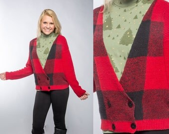 """Vintage Plaid Lumberjack Sweater & Christmas Tree Turtleneck   80s Cardigan Red and Black """"Ugly Christmas Sweater"""" Size M L Holiday C2"""