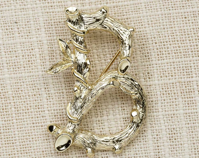 """Gold Letter """"B"""" Brooch Vintage Branches Vines Sarah Coventry Cov Broach Costume Jewelry 
