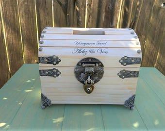 "Donation Box - 8"" Wedding Card Box - Honeymoon Fund Box - Wedding Money Box - Ballot Box - Piggy Bank - Wishing Box - Raffle Box - Tip Jar"