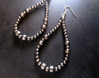 On Sale Now! Navajo Pearl Earrings Large Dramatic Hoops #114
