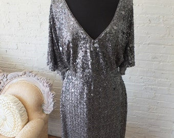 Plus size 18 gray sequined bias cut art deco wedding dress with cape sleeves