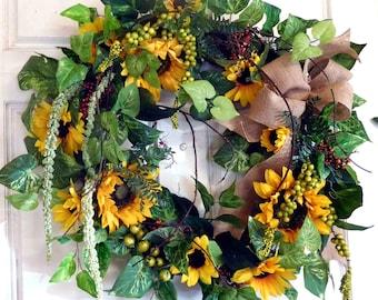 Summer Wreath , Outdoor Wreath , Wreath , Summer Door Wreath , Sunflower Wreath