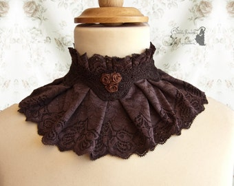 Choker Steampunk, Victorian, neck accessory, brown,  Somnia Romantica, size large - extra large see item details for measurements