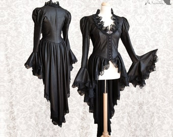 Steampunk waistcoat, Victorian cardigan, goth, gothic, black Somnia Romantica, size approx medium, see item details for measurements