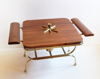 Mid Century Modern Serving - Casserole Holder - Chafing Warming Dish - MCM Atomic Starburst - Vintage Party