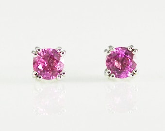 Natural Pink Sapphire 14K Solid White Gold Stud Earrings 4.5mm