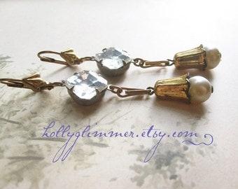 Winter White Assemblage Earrings / Rustic Winter Wedding Jewelry