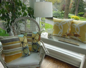 Yellow Pillow - Brown Pillow - Gray Pillow - Mod Flower Pillow - Stripe Pillow - Three Fabric Pillow - Large Flowers and Pod Designer Pillow