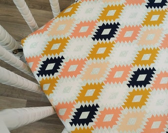 Crib Sheet- Tribal Crib Sheet- Aztec Crib Sheet-READY to SHIP-  Girl Crib Bedding