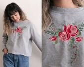 Vintage Grey Floral Sweatshirt / Cropped Sweatshirt / Floral Embroidery Sweater / Roses Crop Top / Long Sleeve Oversized Minimal Flower