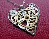 "A Mechanical Mind Clockwork Heart Necklace ""Austen"" Elegant Industrial Heart Pendant Steampunk Love Gift Wife Girlfriend Valentine's Day"