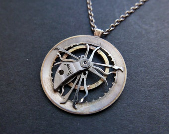 "Watch Parts Pendant ""Modulate"" Elegant Intricate Mechanical Watch Sculpture Necklace Industrial Steampunk Wearable Art Mechanical Mind"