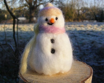 Needlefelted Snowman with pastel rainbow Hat and Scarf for Christmas, Yule or Winter