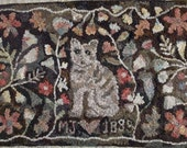 """Rug Hooking PATTERN, Cat and Flowers, 24"""" x 36"""", Antique Adaptation, P114, Cat Hooked Rug Design, Floral Design"""