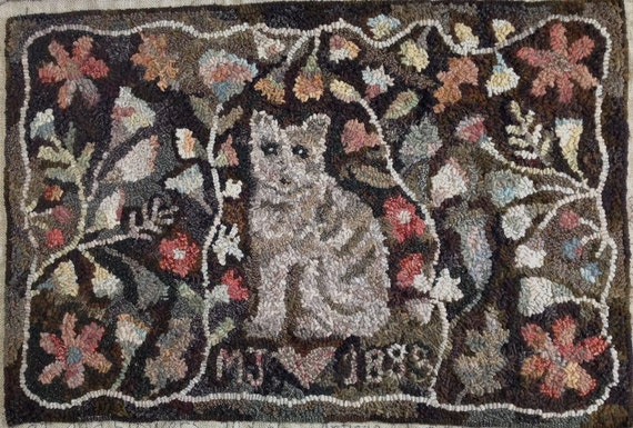 "Rug Hooking PATTERN, Cat and Flowers, 24"" x 36"", Antique Adaptation, P114, Cat Hooked Rug Design, Floral Design"