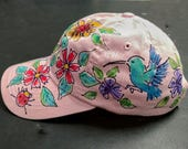 New Wildflowers with Hummingbirds on Pink Ladies Baseball Cap Handpainted